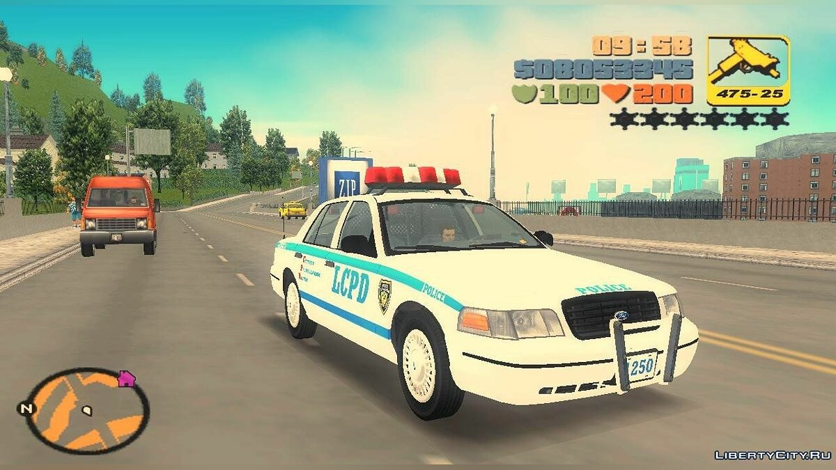 Машина 1998 Ford Crown Victoria LCPD Cruiser для GTA 3