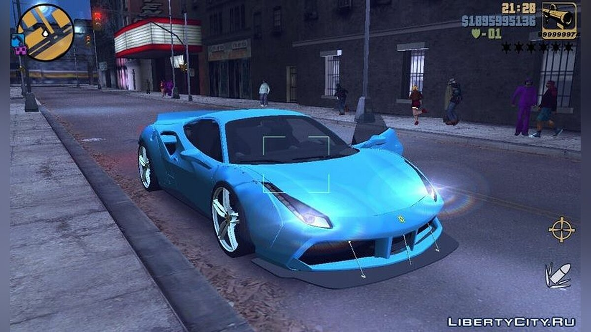 Машина Ferrari 488 GTB LB для GTA 3 (iOS, Android)