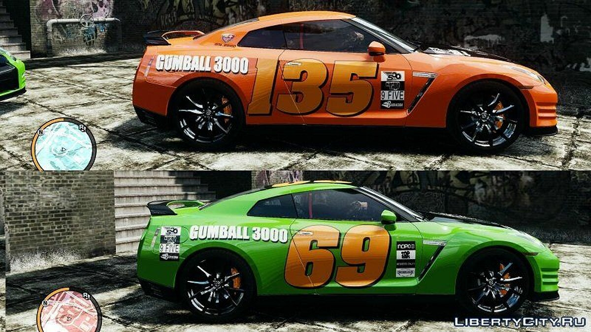 2012 Nissan GT-R Black Edition Gumball 3000 Paintjob для GTA 4 - скриншот #4
