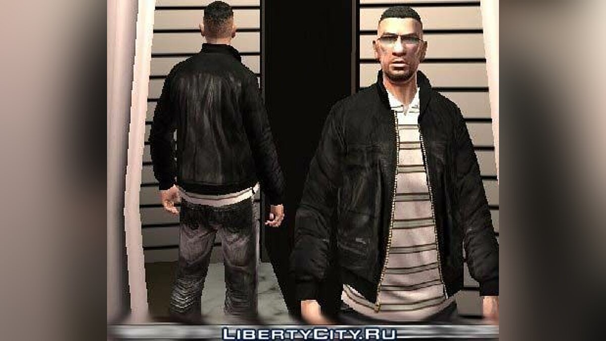 Leather jacket + original white polo V2 для GTA 4