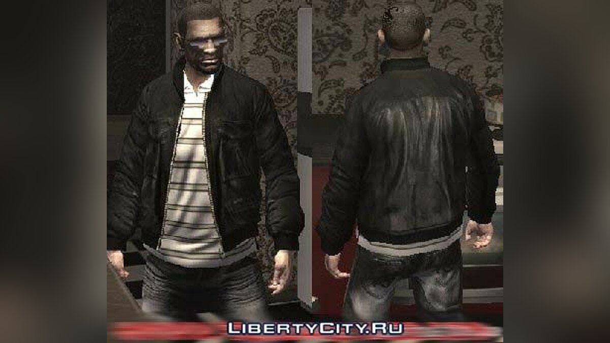 Leather jacket and white polo для GTA 4