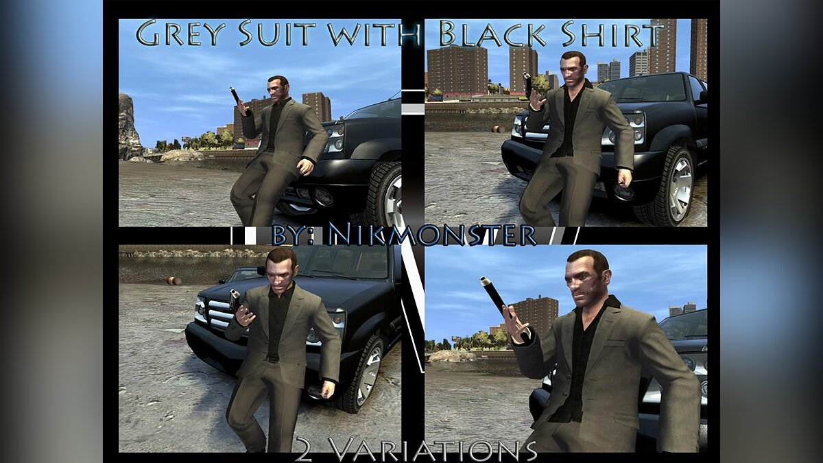 Grey Suit with Black Shirt для GTA 4 - Картинка #1