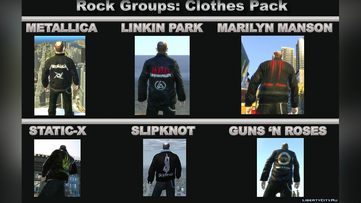Rock Groups Clothes Pack для GTA 4