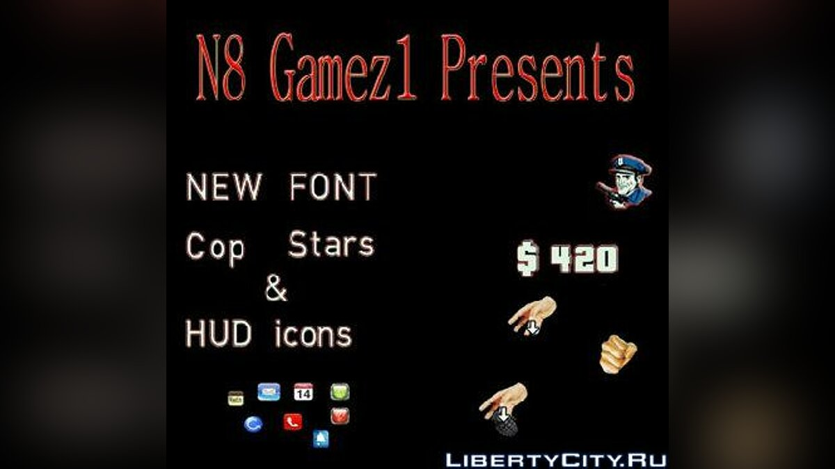 Colored Font New hud icons and Cop Stars для GTA 4 - Картинка #1
