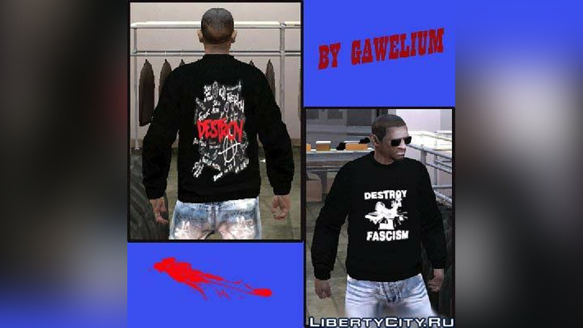 Destroy Fascism shirt для GTA 4 - Картинка #1