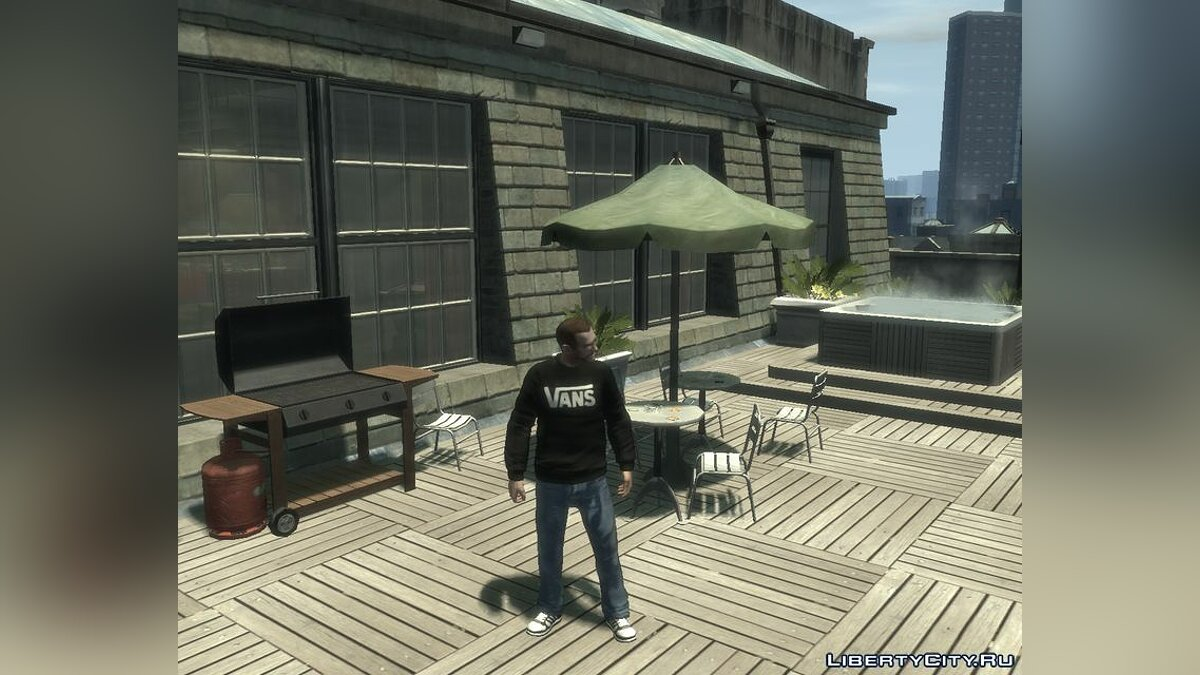 Футболка и кофта VANS Original Sweater Black & Grey для GTA 4