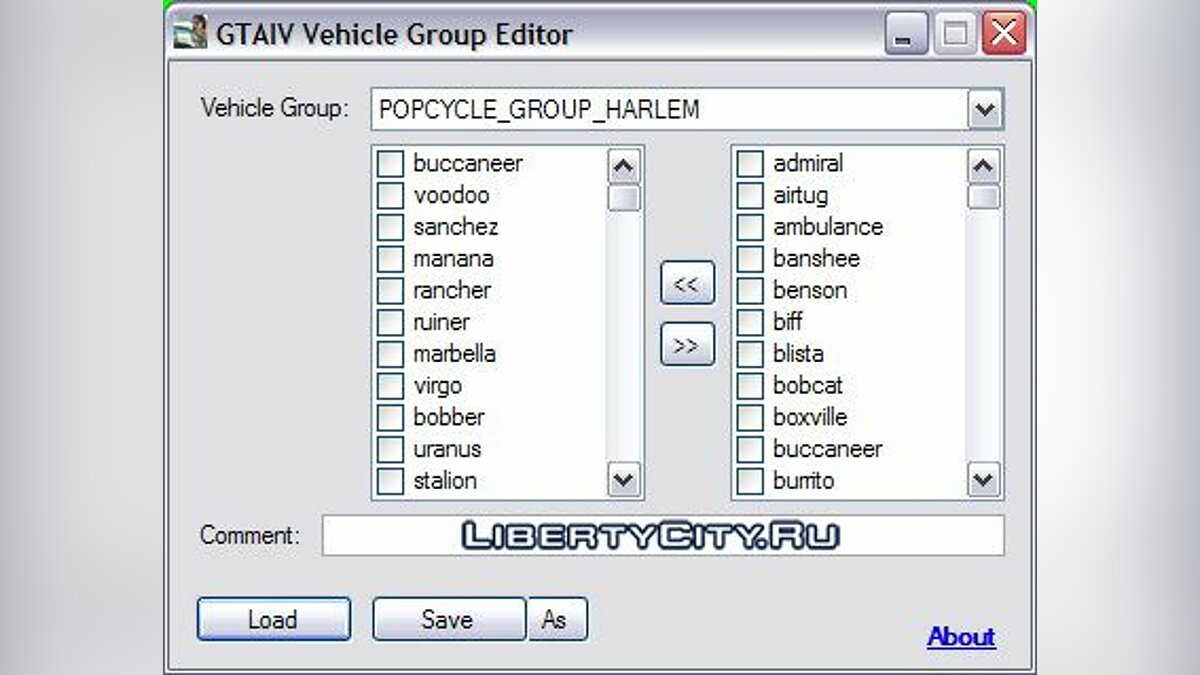 GTA IV Vehicle Group Editor 1.2 для GTA 4