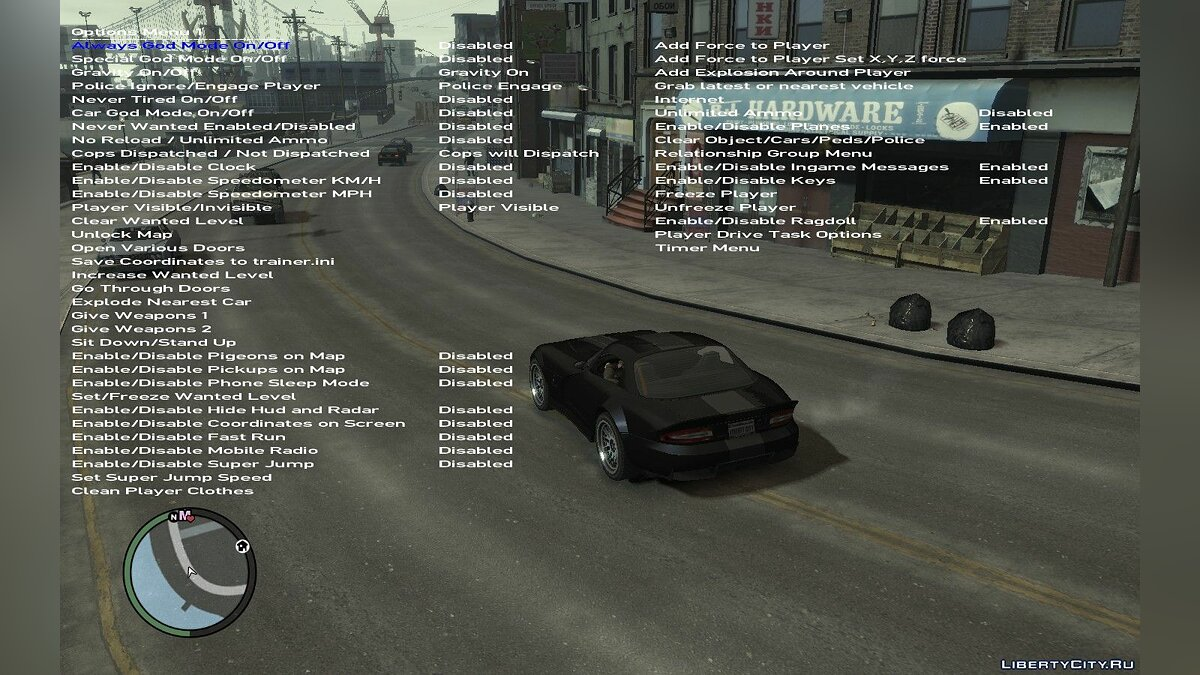 Трейнер Simple Native Trainer 1.0.8.0 - Чит меню для GTA 4