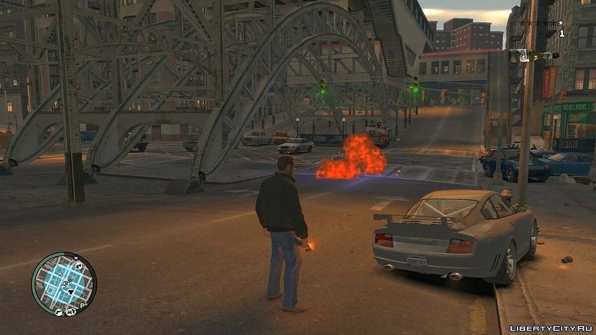 ��ружейный мод Blue Light For Molotov Explosion для GTA 4