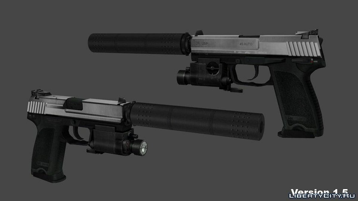 HK USP 45 with Working Flashlight v1.5 для GTA 4 - скриншот #2