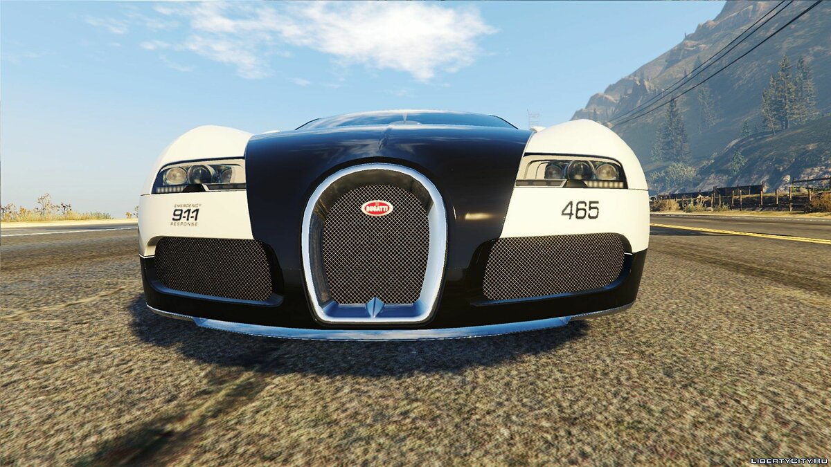 ��екстура машины Bugatti Veyron / Need for Speed - Hot Pursuit Police для GTA 5