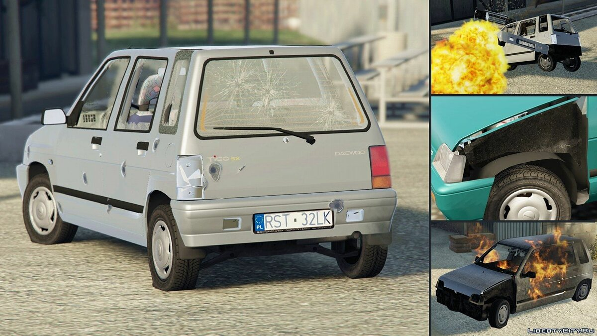 1998 Daewoo-FSO Tico SX [Add-On + Tuning] для GTA 5 - скриншот #5