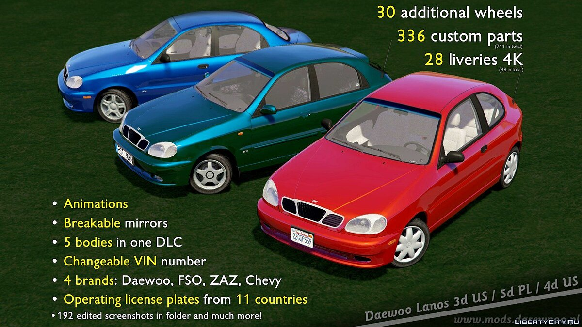Машина Daewoo 2000 Daewoo Lanos* [Add-On | Tuning | Rims | Liveries | Animated] 1.0 для GTA 5