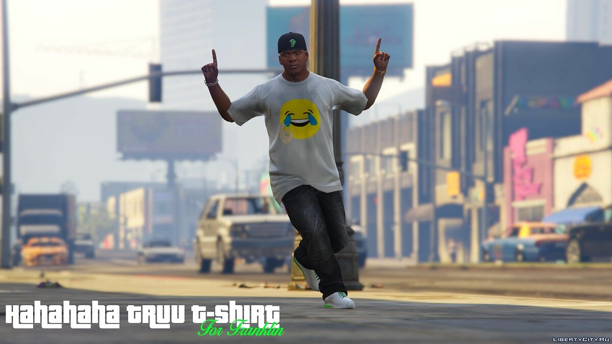 Hahahaha truu t-shirt for Franklin для GTA 5 - скриншот #7