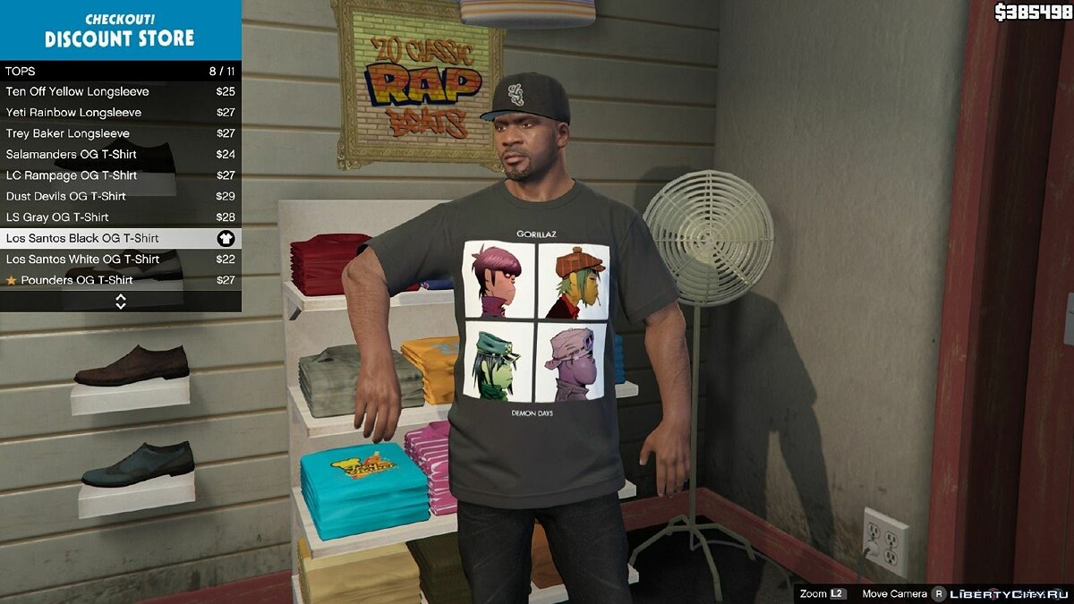 Gorillaz - Demon Days T-Shirt For Franklin для GTA 5