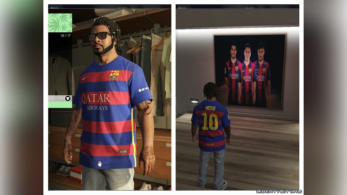 Messi Shirt for Franklin для GTA 5