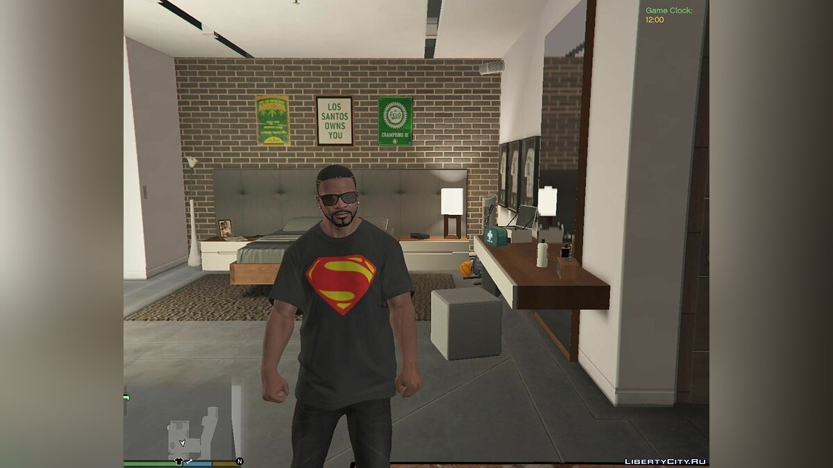 Man of Steel T-shirt for Franklin для GTA 5