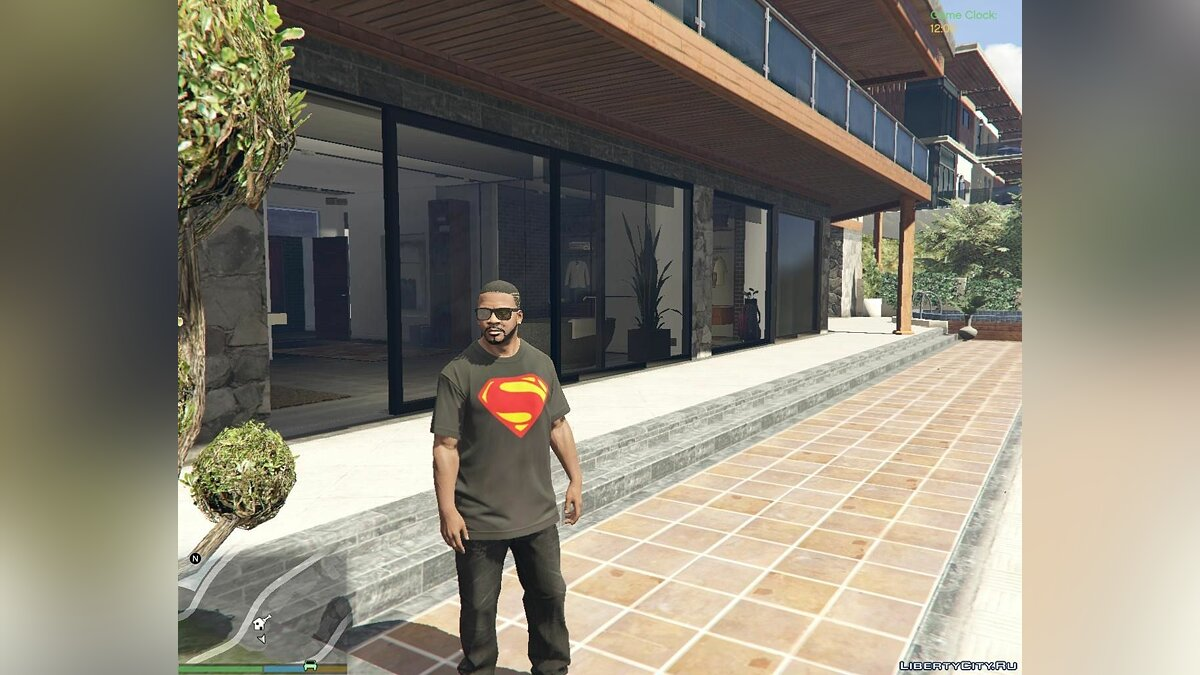 Man of Steel T-shirt for Franklin для GTA 5 - скриншот #2