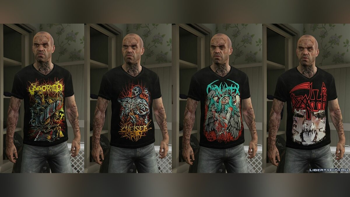 Trevor - Mega Music T-shirt Pack для GTA 5 - скриншот #3