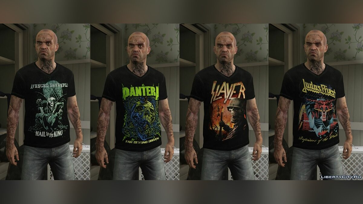 Trevor - Mega Music T-shirt Pack для GTA 5 - скриншот #9