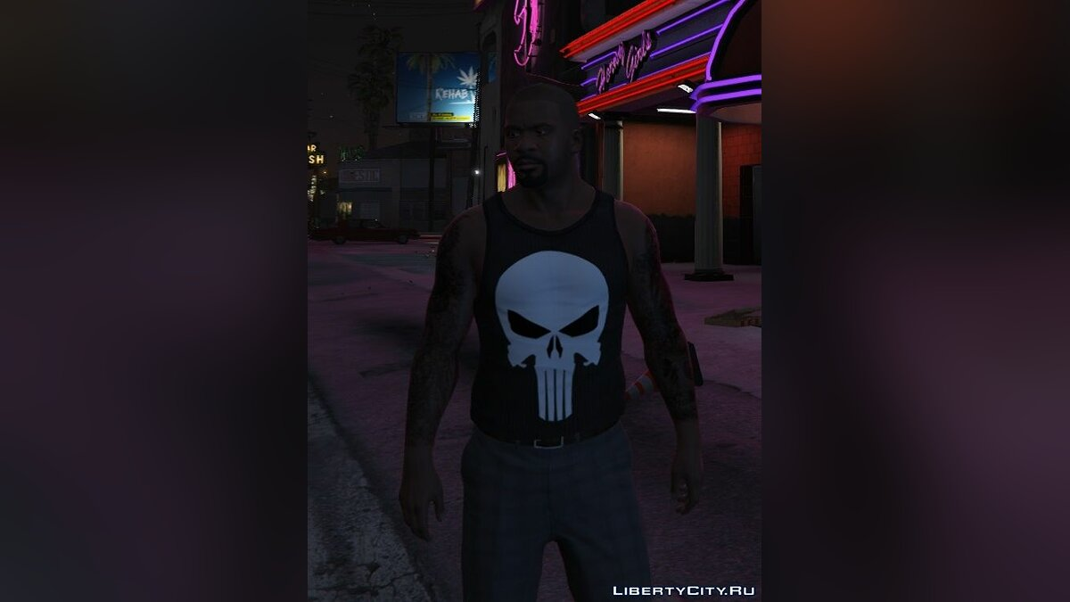 The Punisher Shirt for Franklin для GTA 5