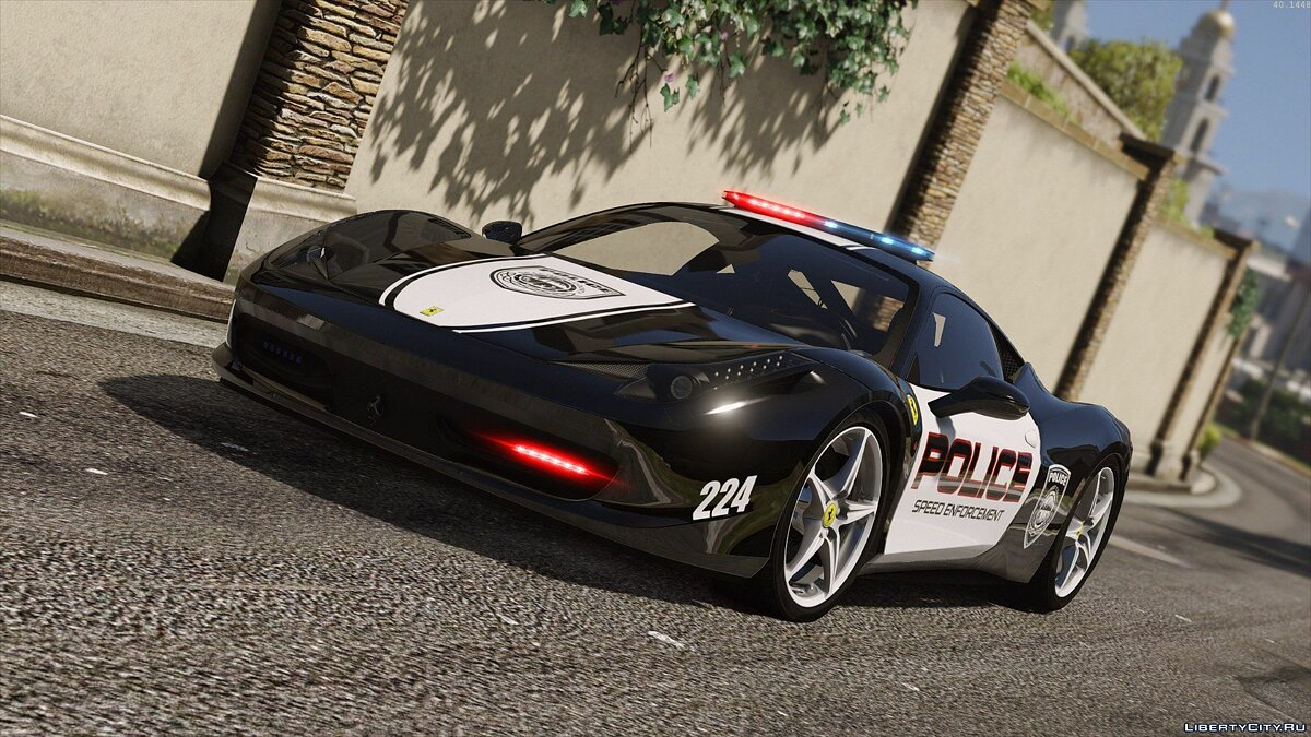 Ferrari 458 Italia | Hot Pursuit Police | AUTOVISTA [Add-On / Replace | Template] для GTA 5