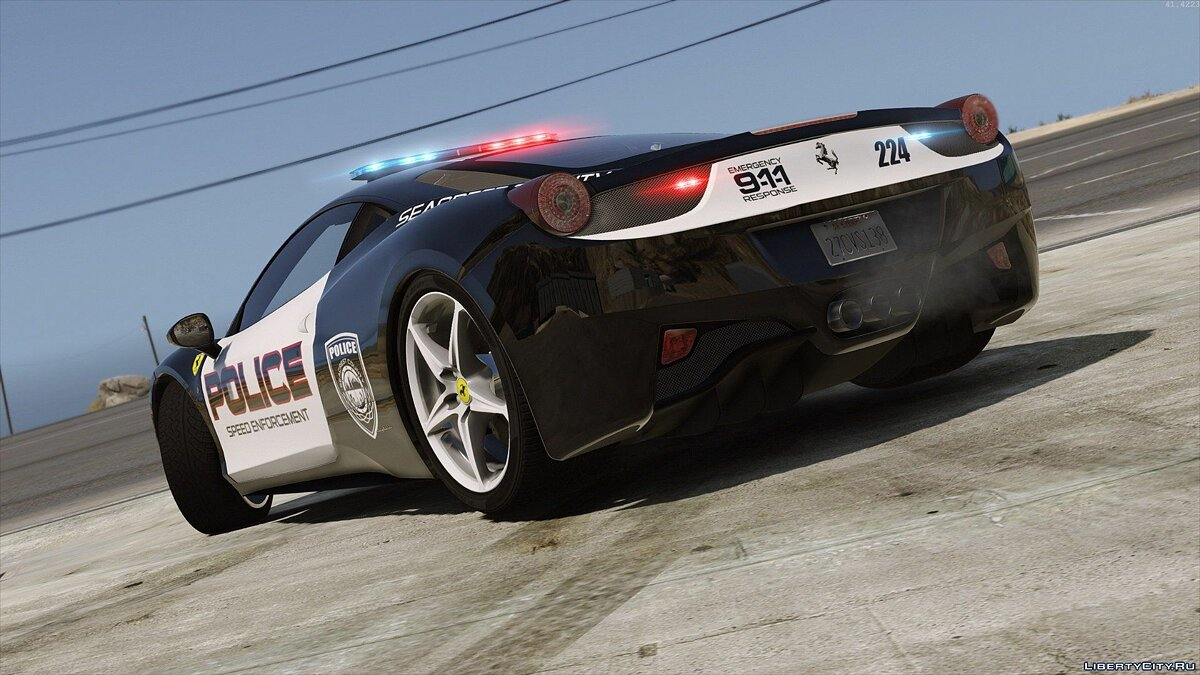 Ferrari 458 Italia | Hot Pursuit Police | AUTOVISTA [Add-On / Replace | Template] для GTA 5 - скриншот #3