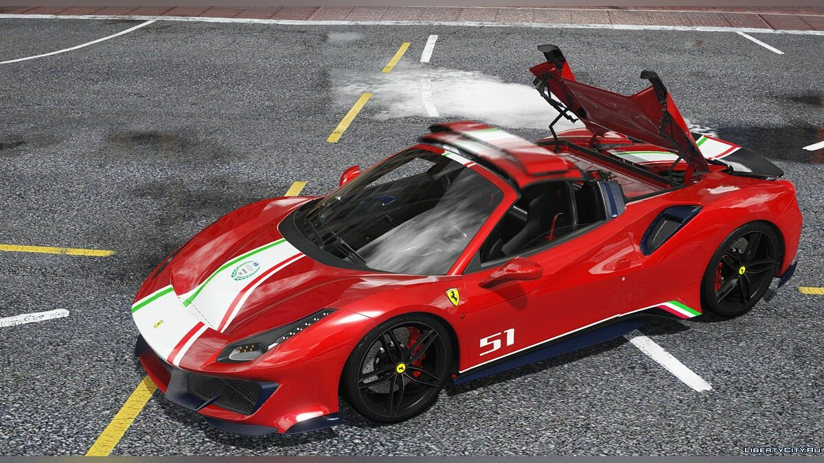 Машина Ferrari 2019 Ferrari 488 Pista SPIDER [Animated Roof][ADD-On/Template] 1.0 для GTA 5