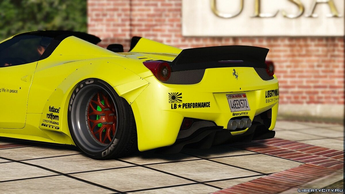 Liberty Walk Ferrari 458 Spider [Add-On | Tuning | Livery] 1.0 для GTA 5 - скриншот #6