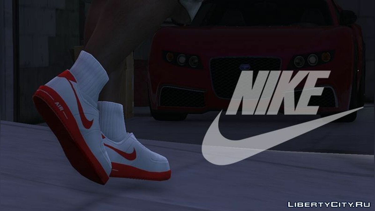 ��бувь и перчатки Nike Air Force Low (White/Red) для GTA 5