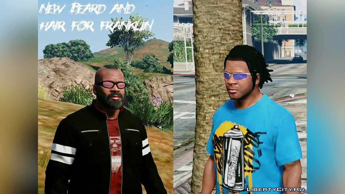 ��рическа и борода New Beard And Hair For Franklin для GTA 5