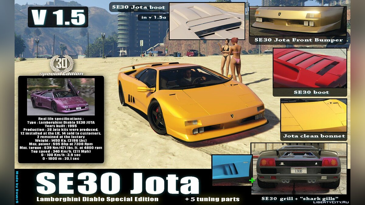 Lamborghini Diablo GTR [Add-On | Tuning | Template] 1.6 для GTA 5 - скриншот #4