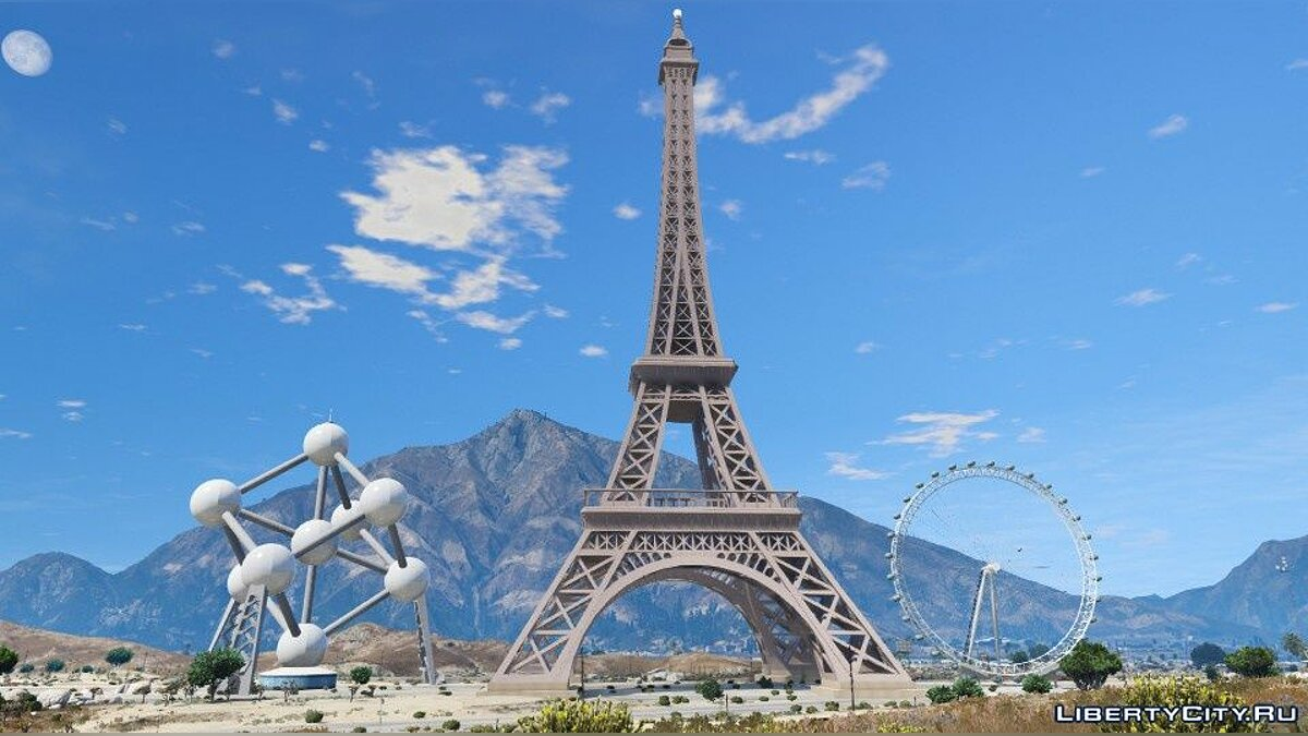 ��овый объект Custom Add-On Props (Eiffel Tower, London Eye, Atomium) 1.0 для GTA 5