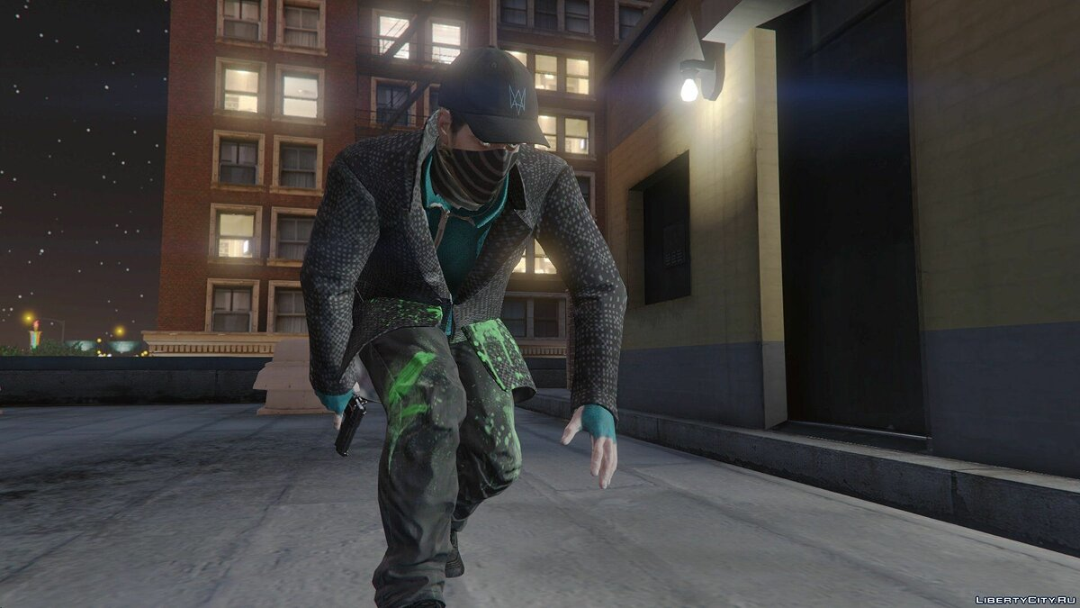 Aiden Pearce + Real Mask and Inner Shirt Model + Real Head v1.5 для GTA 5 - скриншот #2