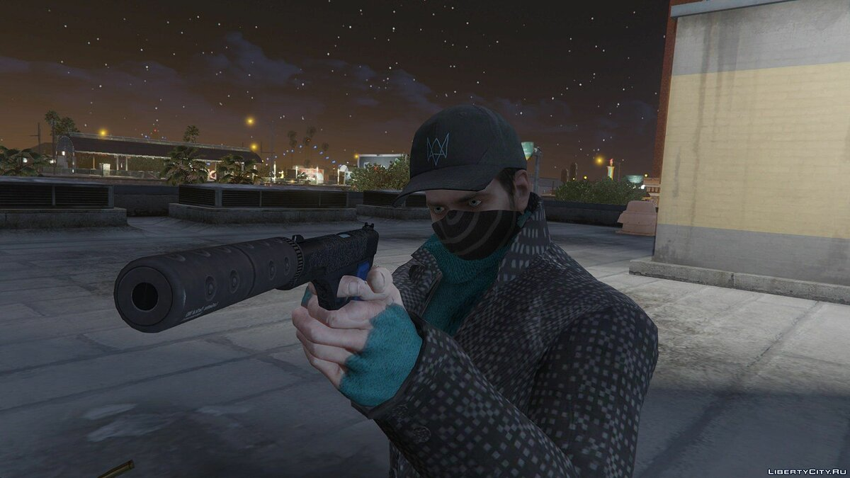 Aiden Pearce + Real Mask and Inner Shirt Model + Real Head v1.5 для GTA 5 - скриншот #3