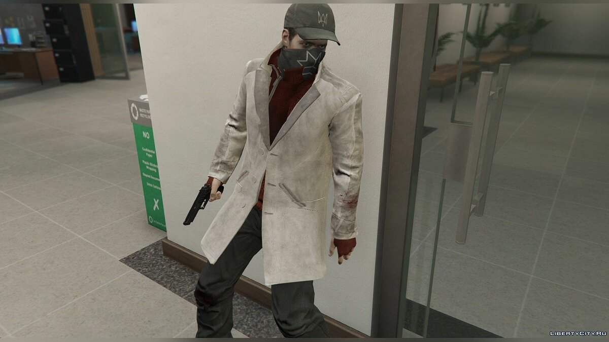 Aiden Pearce + Real Mask and Inner Shirt Model + Real Head v1.5 для GTA 5 - скриншот #4