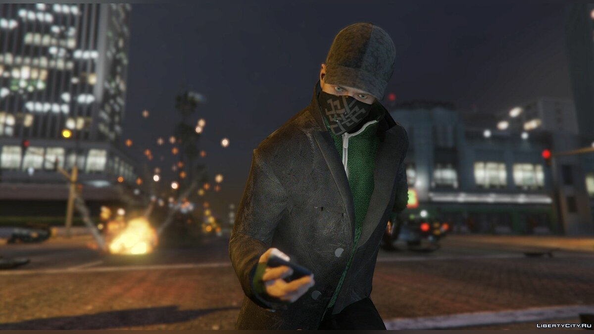 Aiden Pearce + Real Mask and Inner Shirt Model + Real Head v1.5 для GTA 5 - скриншот #7