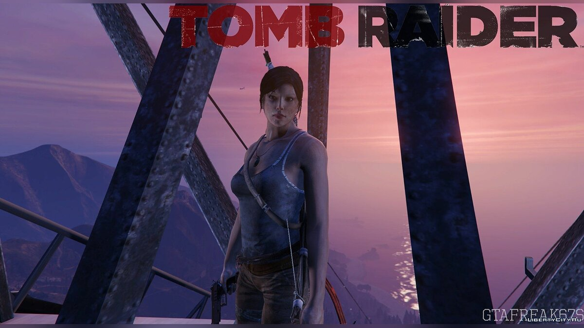 Tomb Raider Lara Croft Ped+ Real Head + Accessories v1.6 для GTA 5