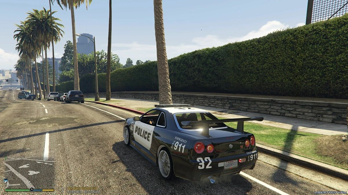 Машина полиции Nissan R34 Skyline Police [Replace | Template] 1.0 для GTA 5