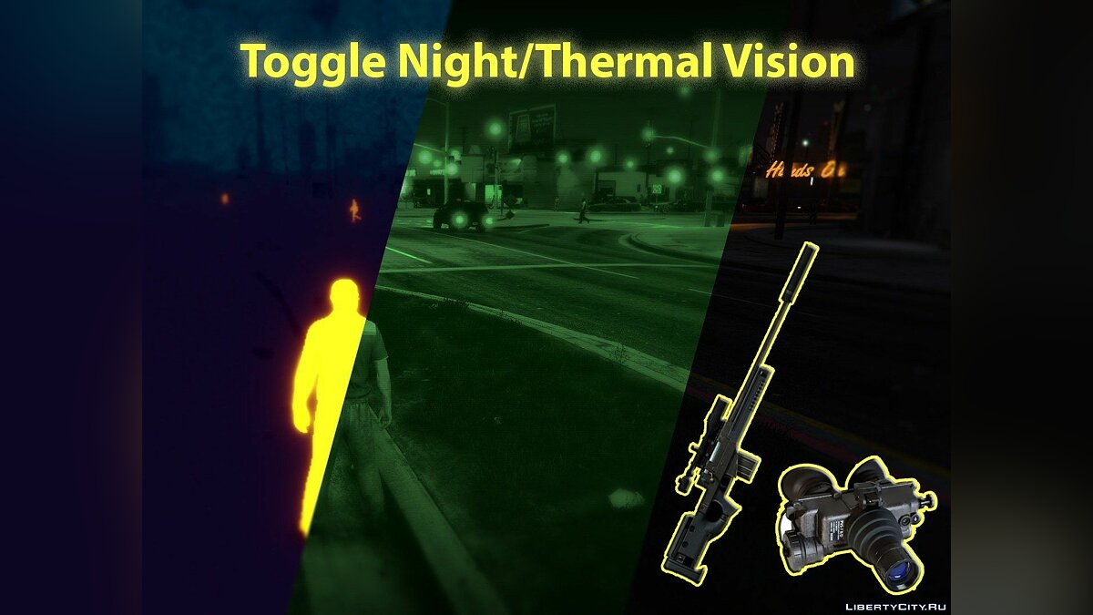 Toggle Night/Thermal Vision (+ scope-only mode) [LUA] 1.3.2 для GTA 5 - Картинка #1