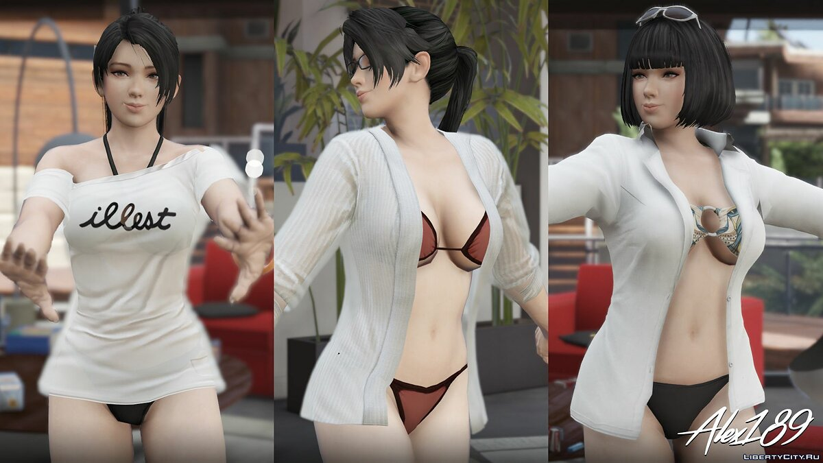 ��борник скинов Momiji Dead Or Alive 5 Bikini Pack [Add-On Ped | Replace] v1.0 для GTA 5