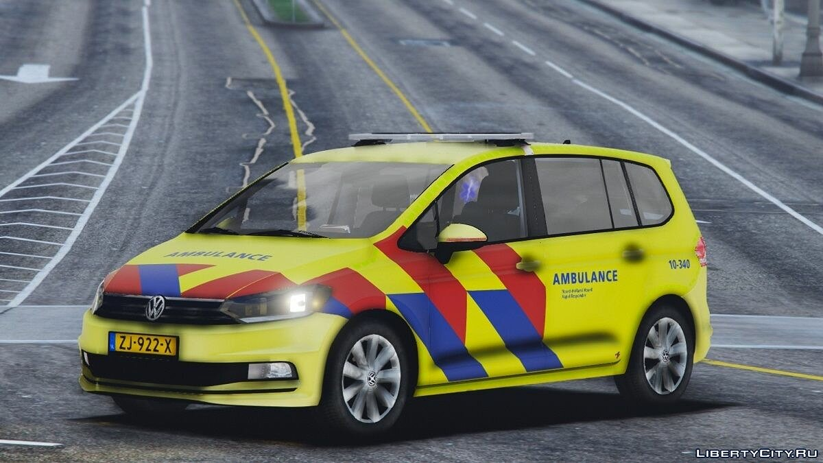 Машина Volkswagen Touran 2016 Rapid Responder / Dutch Ambulance [ELS / REPLACE] 1.0 для GTA 5