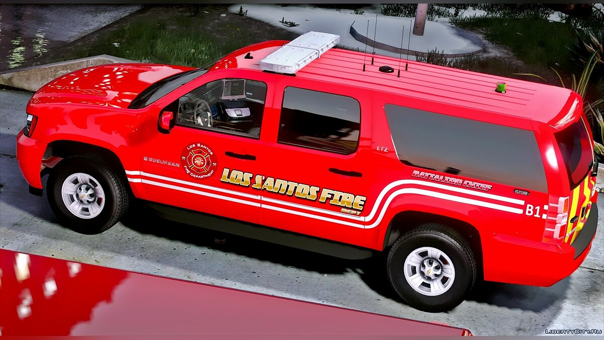 Los Santos Fire Department Chevrolet Suburban [ELS] для GTA 5 - скриншот #2