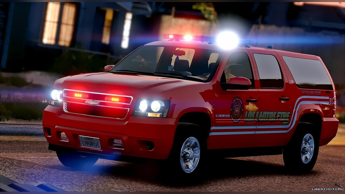 Los Santos Fire Department Chevrolet Suburban [ELS] для GTA 5 - скриншот #4