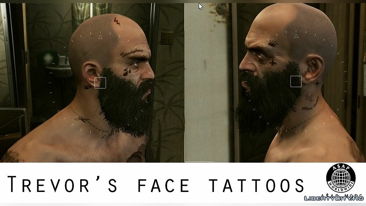 Татуировка NEW HD Tattoos (+face tattoos/full sleeve) for Trevor, Franklin & Michael 1.5 для GTA 5
