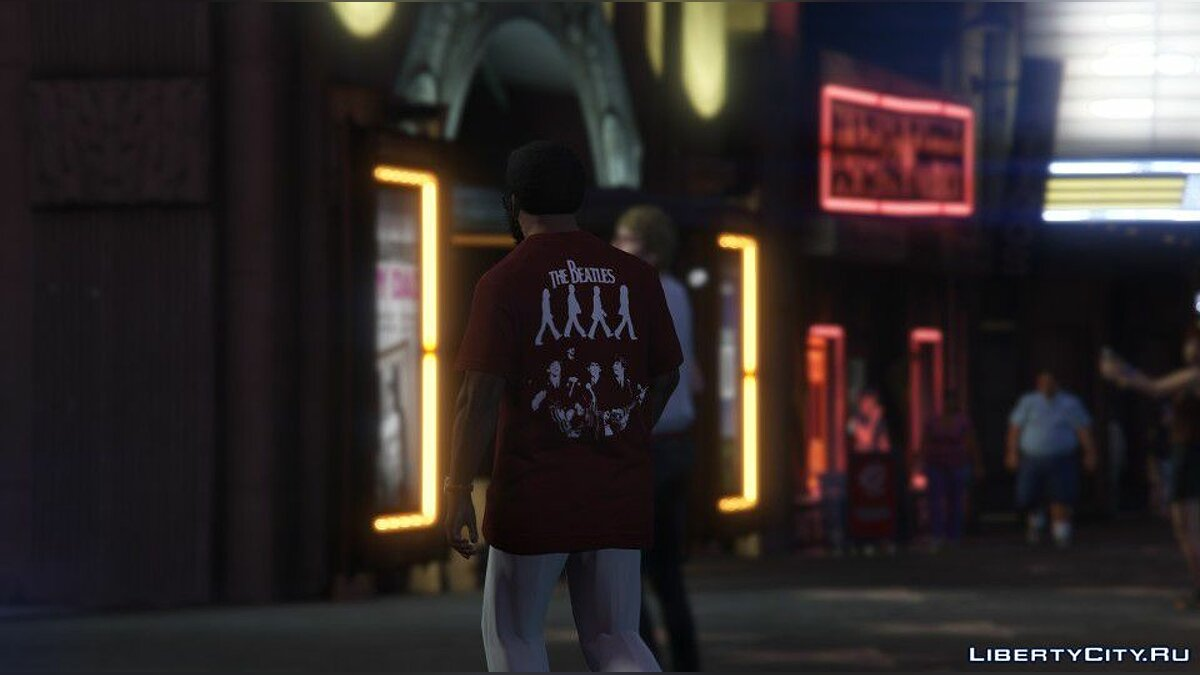Текстурный мод The Beatles T-Shirt for Franklin для GTA 5