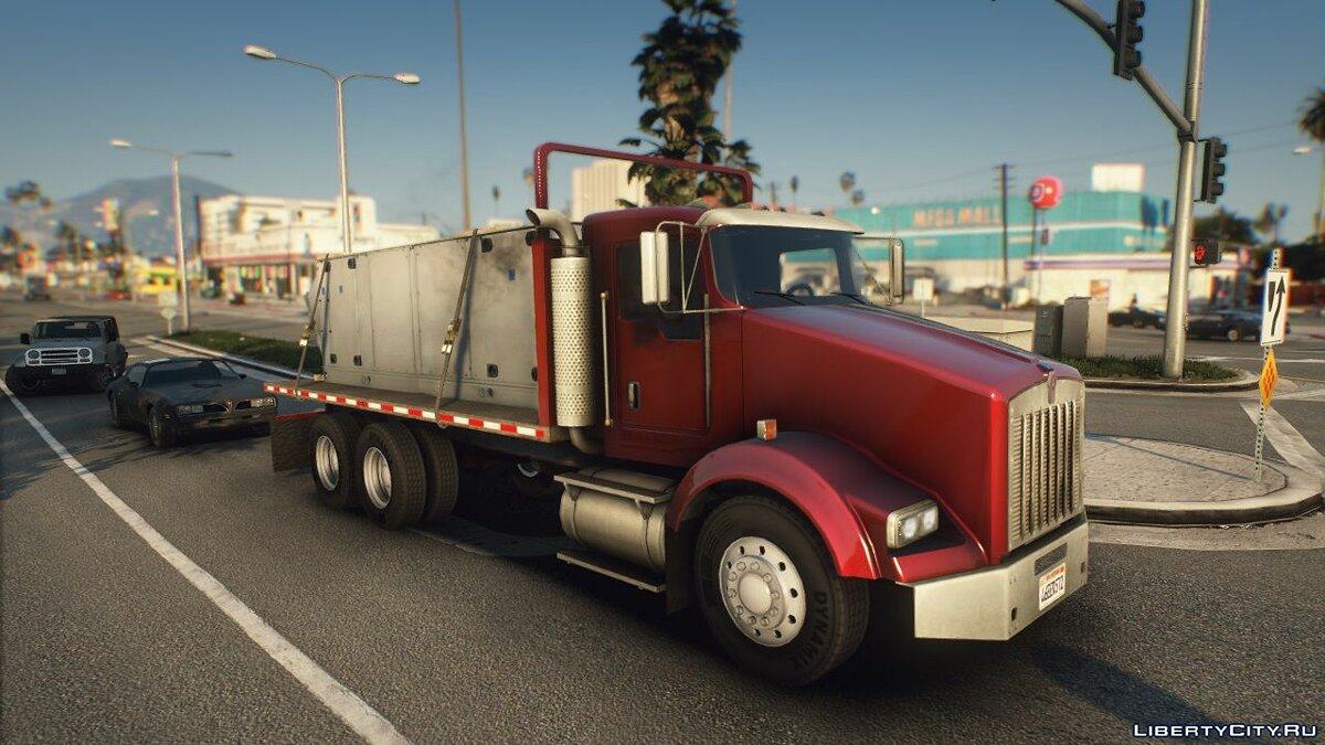 Грузовик Kenworth T800 Flatbed Truck [Replace | Animated | LODs] 1.0 для GTA 5