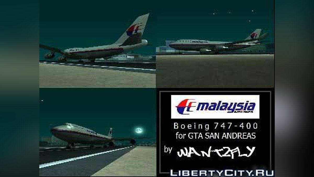 Malaysia Airlines B747 400 для GTA San Andreas