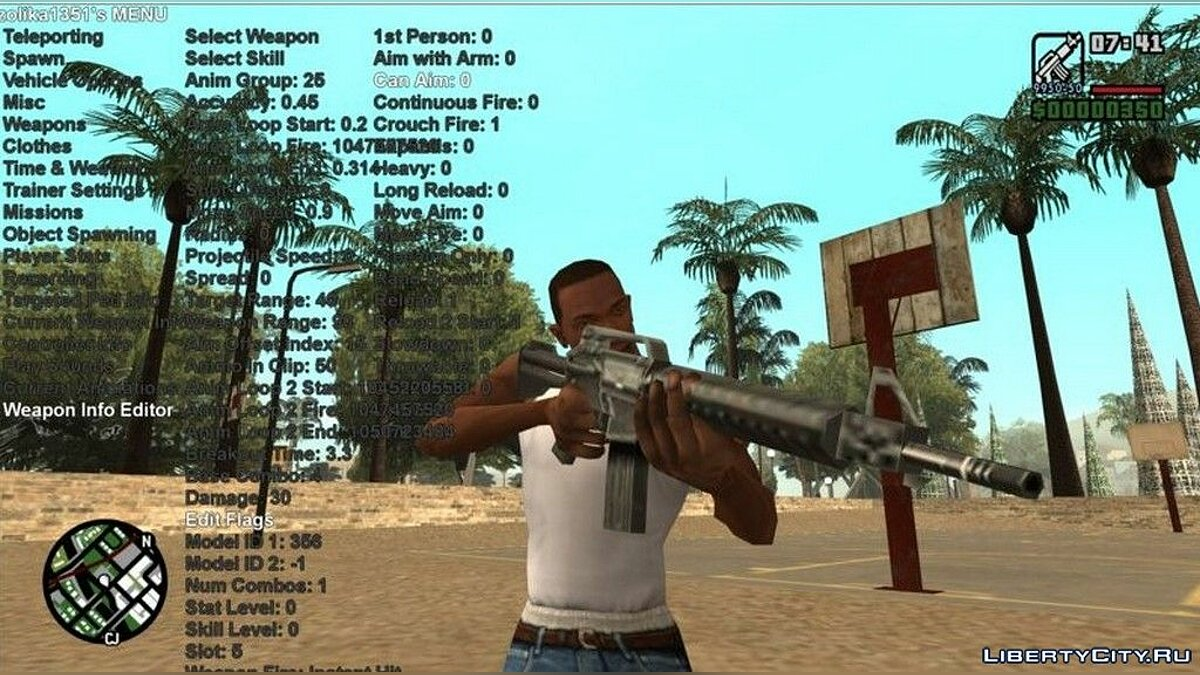 ASI плагин Zolika1351's Native Trainer/Mod Menu для GTA San Andreas