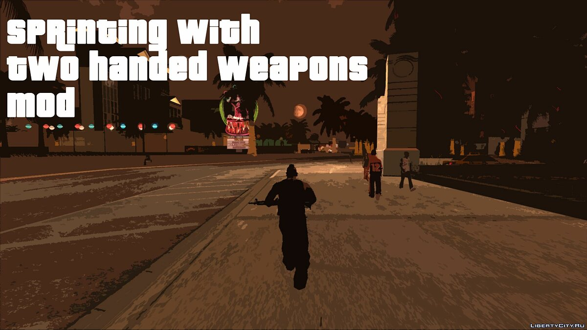 ASI плагин Sprinting With Two Handed Weapons для GTA San Andreas